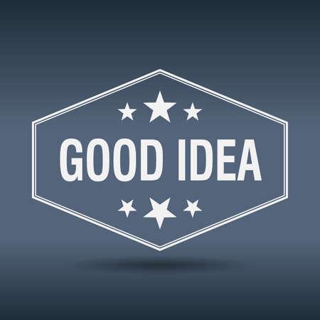 goed idee: goed idee zeshoekige witte vintage retro stijl label