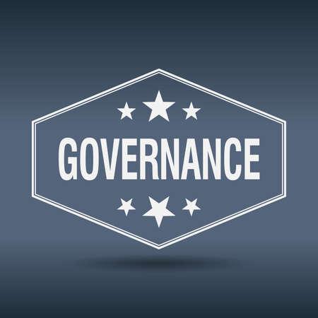 governance: governance hexagonal white vintage retro style label Illustration