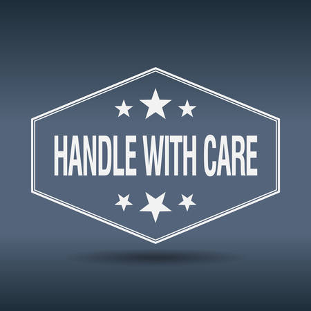 handle with care: handle with care hexagonal white vintage retro style label Illustration