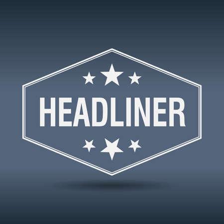 headliner: headliner hexagonal white vintage retro style label