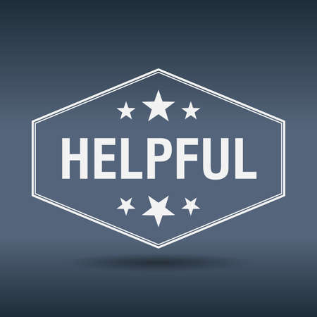 helpful: helpful hexagonal white vintage retro style label Illustration