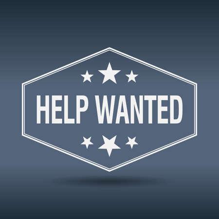 help wanted sign: busca ayuda etiqueta de estilo vintage retro hexagonal blanco
