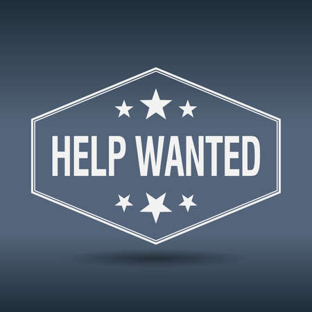 help wanted sign: help wanted hexagonal white vintage retro style label