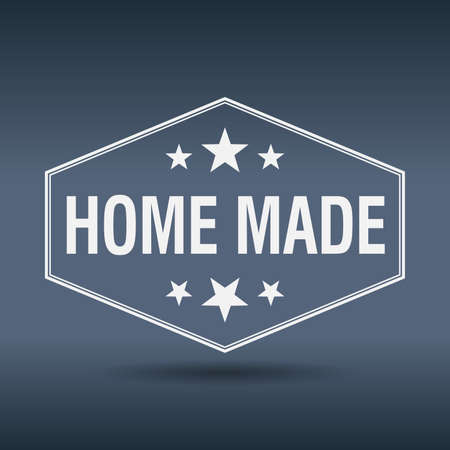 home made: home made hexagonal white vintage retro style label