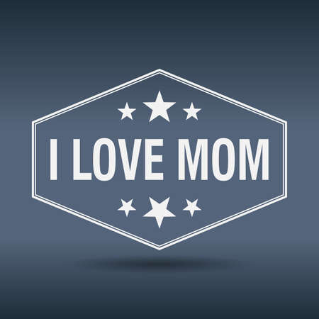 love mom: amo etiqueta de estilo retro mam� hexagonal vendimia Vectores