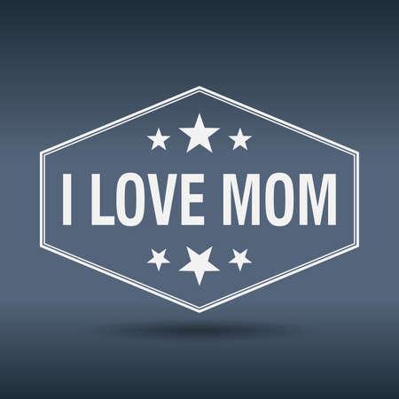 i label: i love mom hexagonal white vintage retro style label