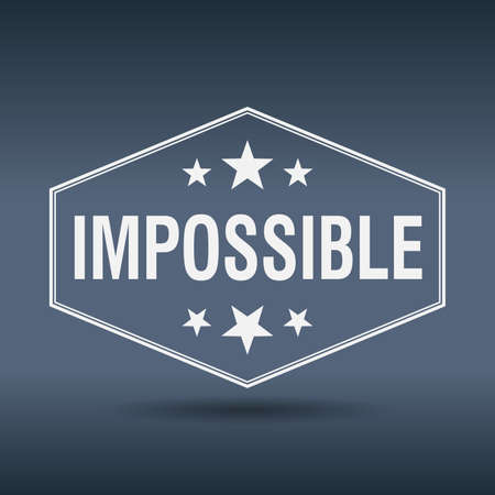 impossible: impossible hexagonal white vintage retro style label