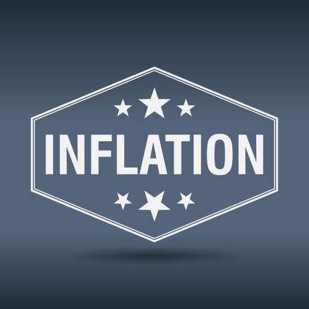 inflation: inflation hexagonal white vintage retro style label Illustration