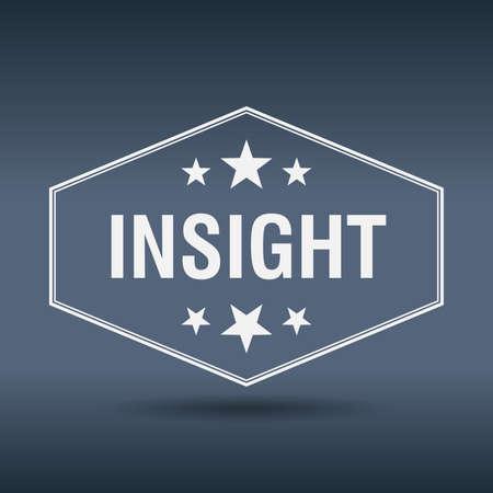 insight: insight hexagonal white vintage retro style label