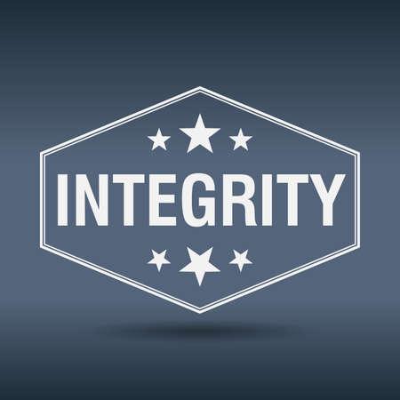 integrity: integrity hexagonal white vintage retro style label