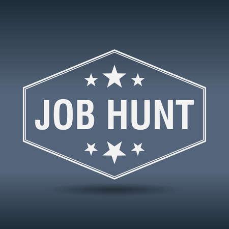 job hunt: job hunt hexagonal white vintage retro style label