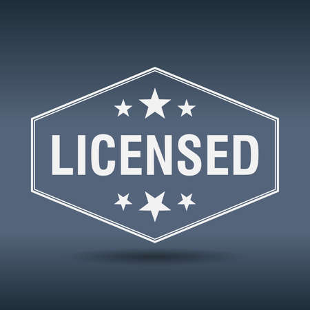 licensed: licensed hexagonal white vintage retro style label