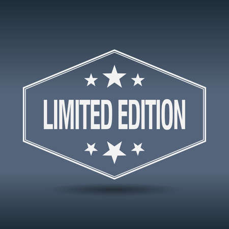 limited edition: limited edition hexagonal white vintage retro style label
