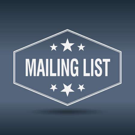 mailing: mailing list hexagonal white vintage retro style label