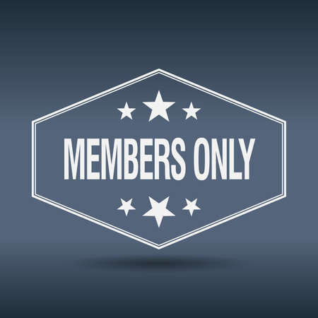 only members: members only hexagonal white vintage retro style label Illustration