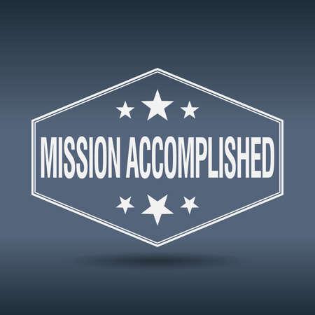 accomplish: mission accomplished hexagonal white vintage retro style label