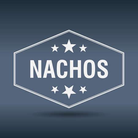 nachos: nachos hexagonal white vintage retro style label