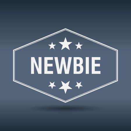 newbie: newbie hexagonal white vintage retro style label