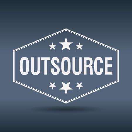 outsource: outsource hexagonal white vintage retro style label
