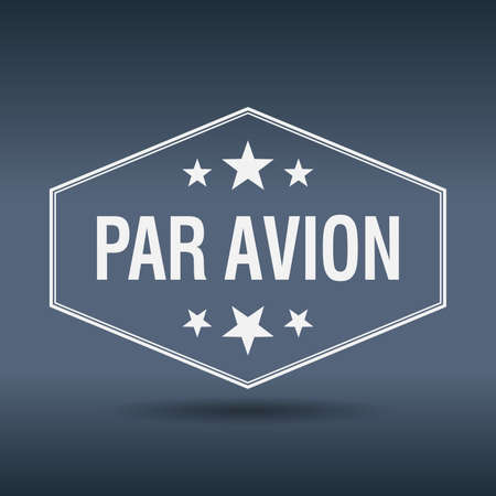 par avion: par avion hexagonal white vintage retro style label
