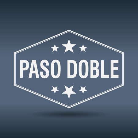 paso doble: paso doble hexagonal white vintage retro style label