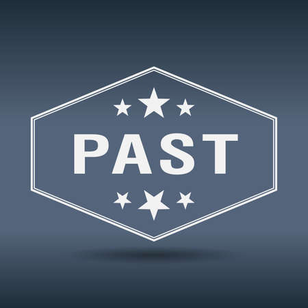 past: past hexagonal white vintage retro style label Illustration