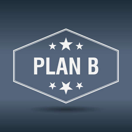 plan b: plan b hexagonal white vintage retro style label