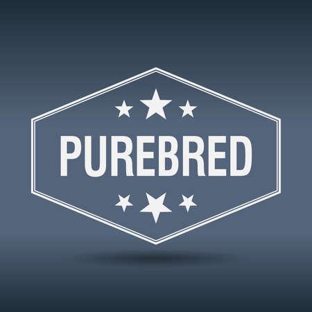 purebred: purebred hexagonal white vintage retro style label