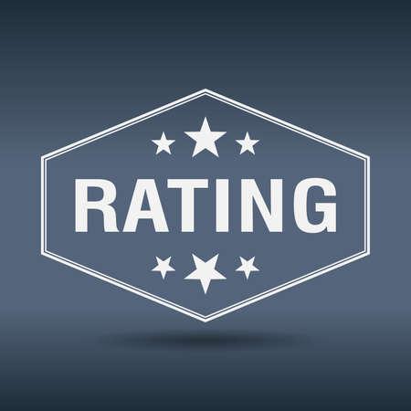 rating: rating hexagonal white vintage retro style label