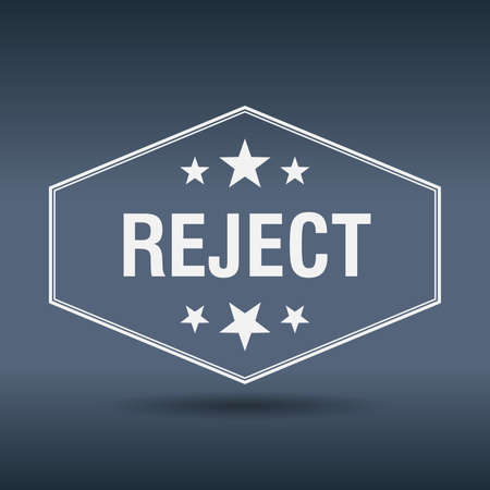 reject: reject hexagonal white vintage retro style label