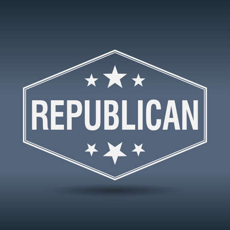 republican: republican hexagonal white vintage retro style label