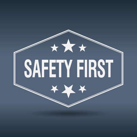 safety first hexagonal white vintage retro style label  イラスト・ベクター素材