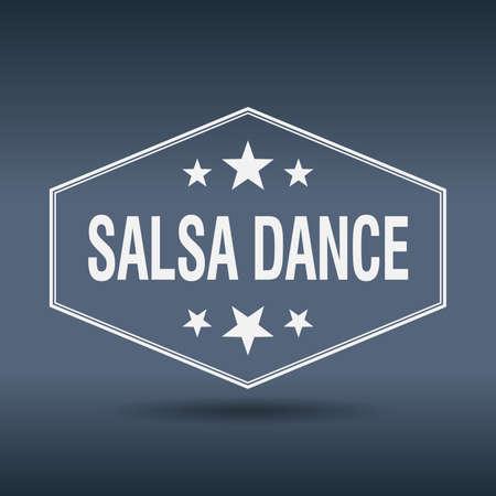 salsa dance: salsa dance hexagonal white vintage retro style label Illustration