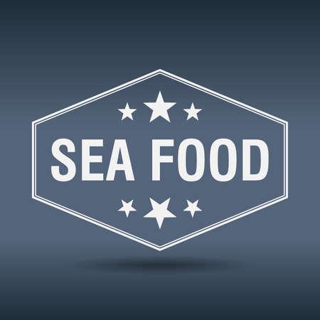sea food: sea food hexagonal white vintage retro style label
