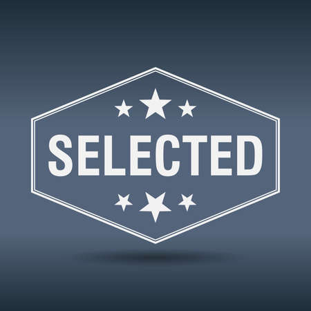 selected: selected hexagonal white vintage retro style label