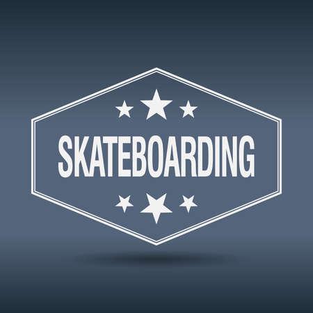 skateboarding: skateboarding hexagonal white vintage retro style label