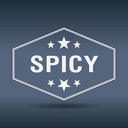 spicy: spicy hexagonal white vintage retro style label