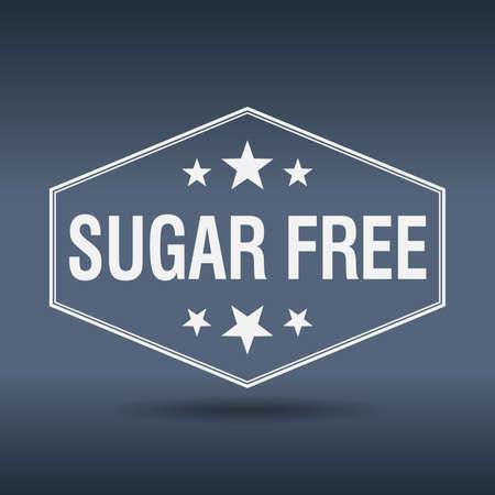 sugar free hexagonal white vintage retro style label Vector