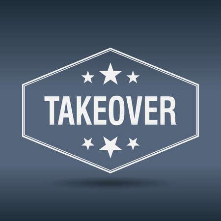 takeover: takeover hexagonal white vintage retro style label