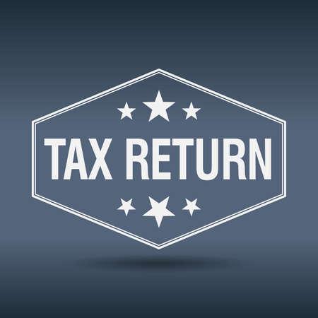 tax return: tax return hexagonal white vintage retro style label