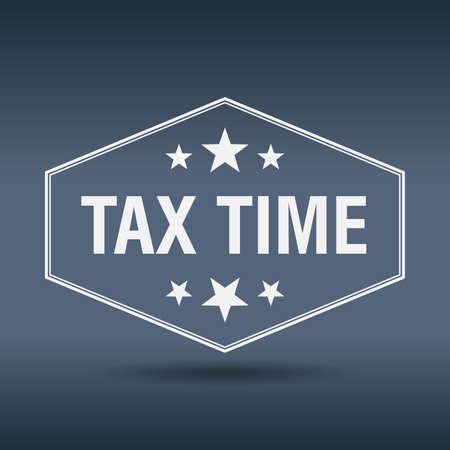 tax time: tax time hexagonal white vintage retro style label Illustration