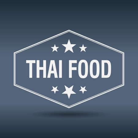 thai food: thai food hexagonal white vintage retro style label