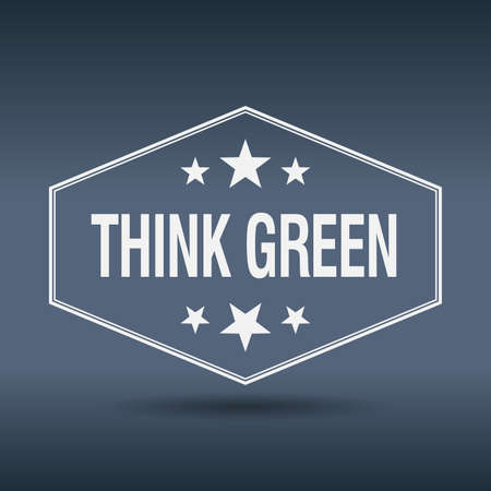 think green: think green hexagonal white vintage retro style label Vectores