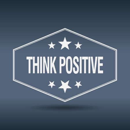think positive: think positive hexagonal white vintage retro style label
