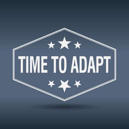 adapt: time to adapt hexagonal white vintage retro style label
