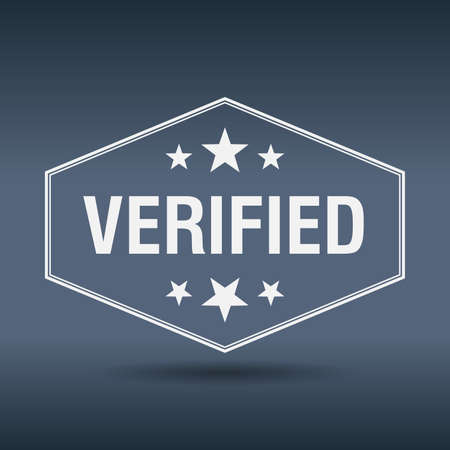 verified: verified hexagonal white vintage retro style label