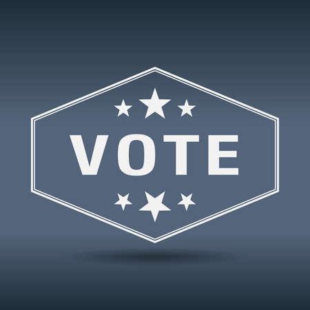democrats: votar etiqueta de estilo hexagonal blanco retro vintage Vectores