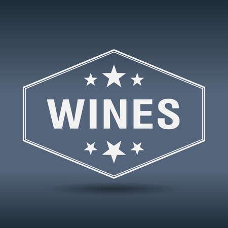 wines: wines hexagonal white vintage retro style label