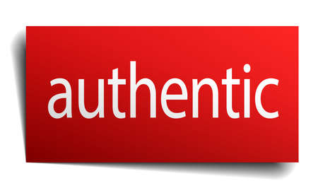 authentic: authentic red paper sign isolated on white