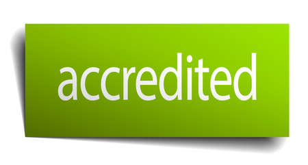 accredited: accredited green paper sign on white background
